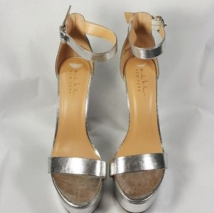 Nicole Miller Shoes - NWT Nicole Miller Everest Metallic Silver Heels